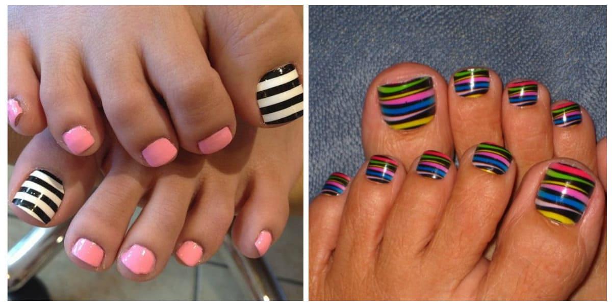 Diseños de uñas para pies 2020- edicura con rayas muy diversas y bonitas