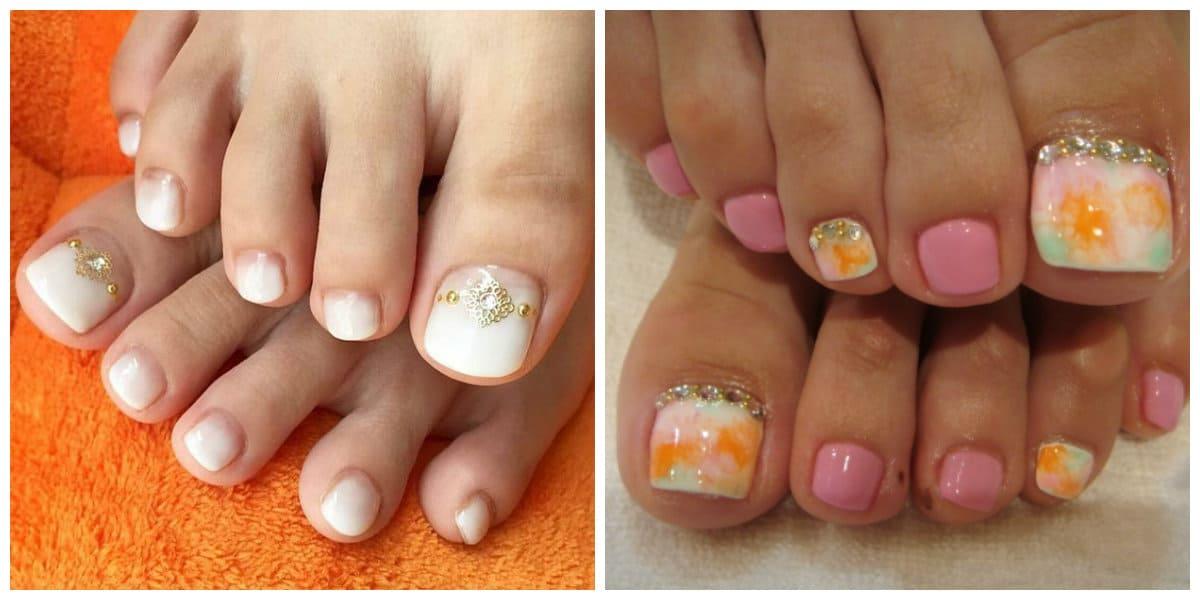 Diseños de uñas para pies 2020- ombre con colores vivo aplicados