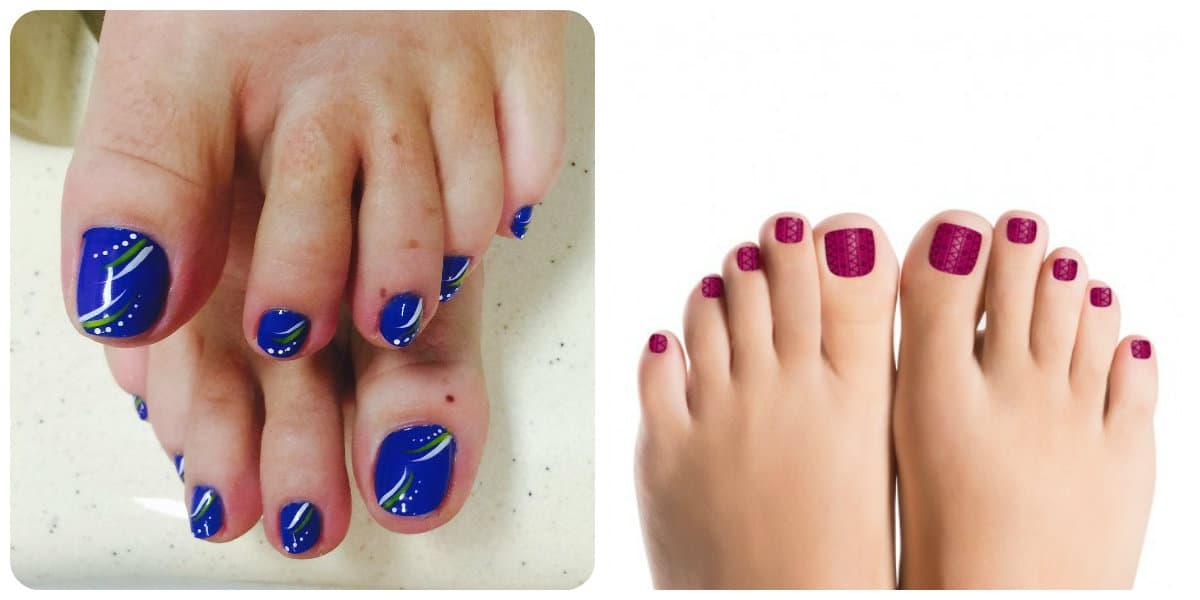 Diseños de uñas para pies 2020- azul transparente y rojo muy a gusto