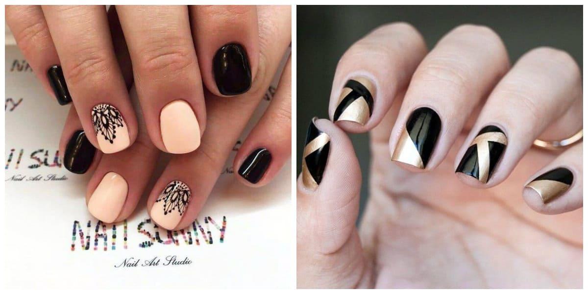 Tendencia de uñas 2020- negro y beige combinados de modos diferentes
