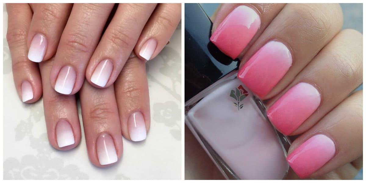 Uñas cortas 2022- ombre hermosa aplicada sobre las uñas cortas