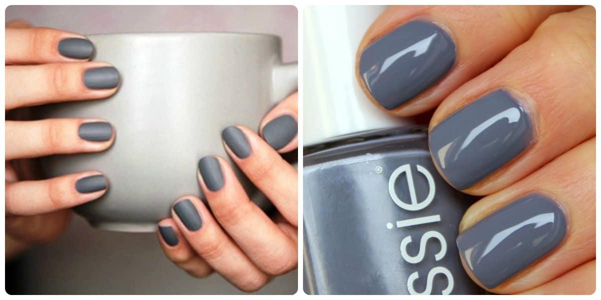 Uñas de primavera 2018- color gris armoniosamente aplicada sobre las uñas