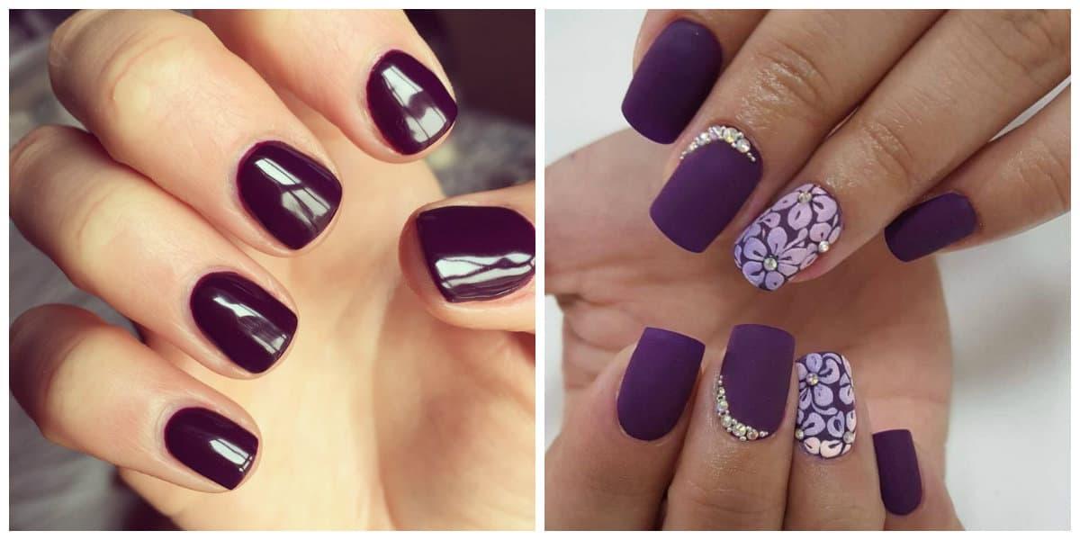 Uñas de primavera 2018- colores oscuros, violeta y tonos de rojo ooscuro