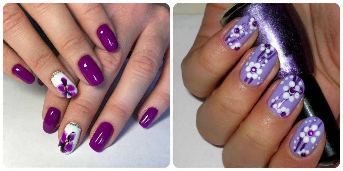 Uñas de verano 2018- el violeta es uno de los colores de pastel muy de moda