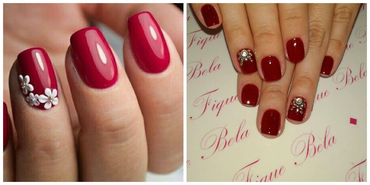 Uñas rojas 2018- decoracion con diamantes, guijarros brillantes