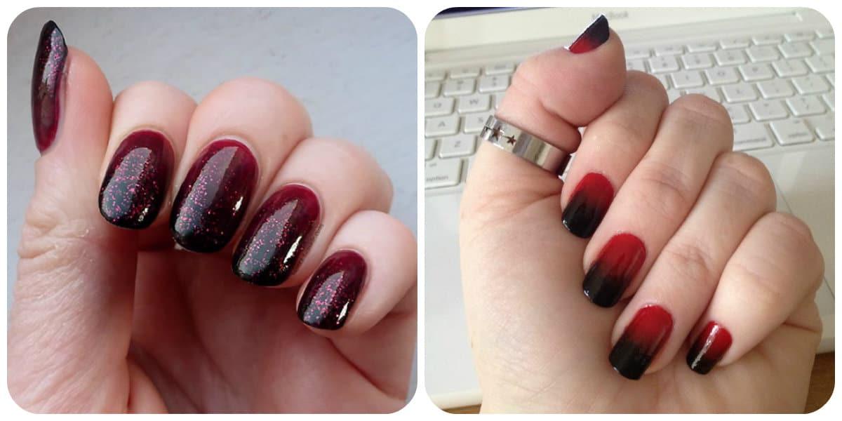 Uñas rojas 2020- Ombre aplicada sobre las uñas con color rojo