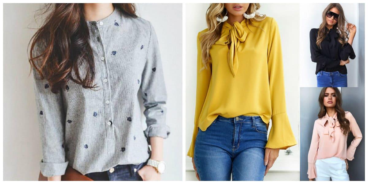 Blusas de moda 2018- con mangas largas muy de moda