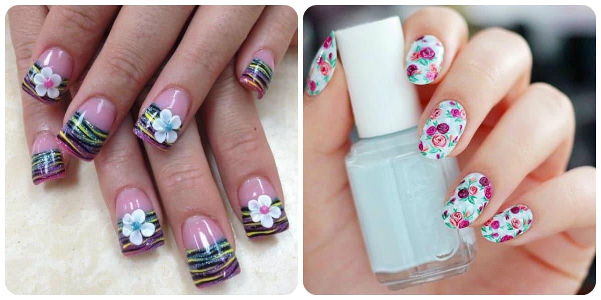 Decoración de uñas 2020- la decoracion con diferentes flores esta muy de moda