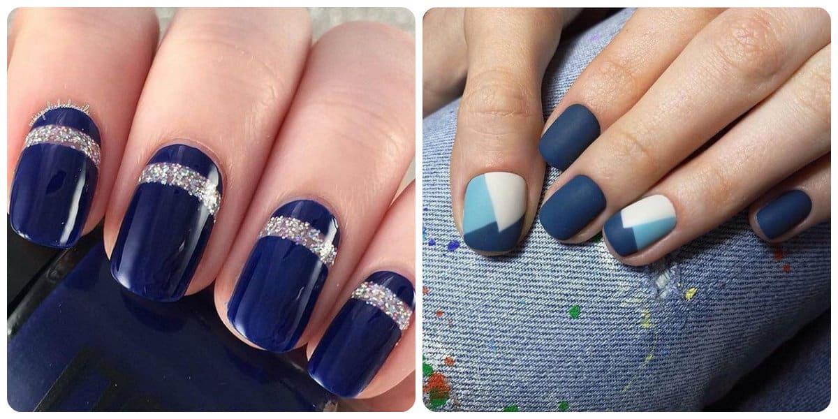Decoración de uñas 2018- las tonalidades de azul tanto brillante como de mate estan de moda