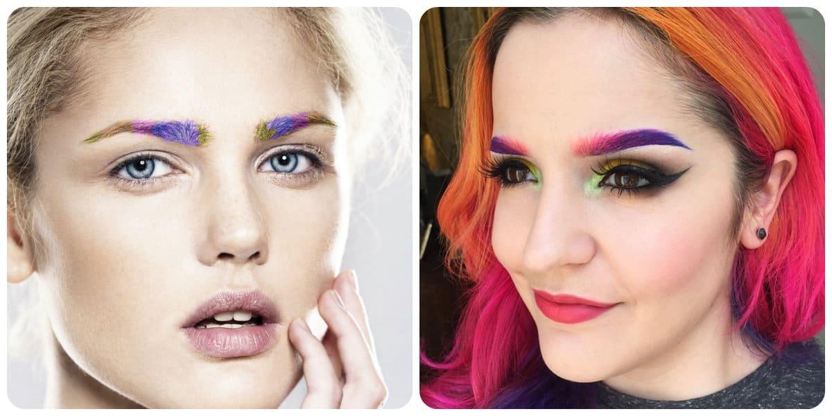 Maquillaje 2018- las cejas tenidas con colores diferentes