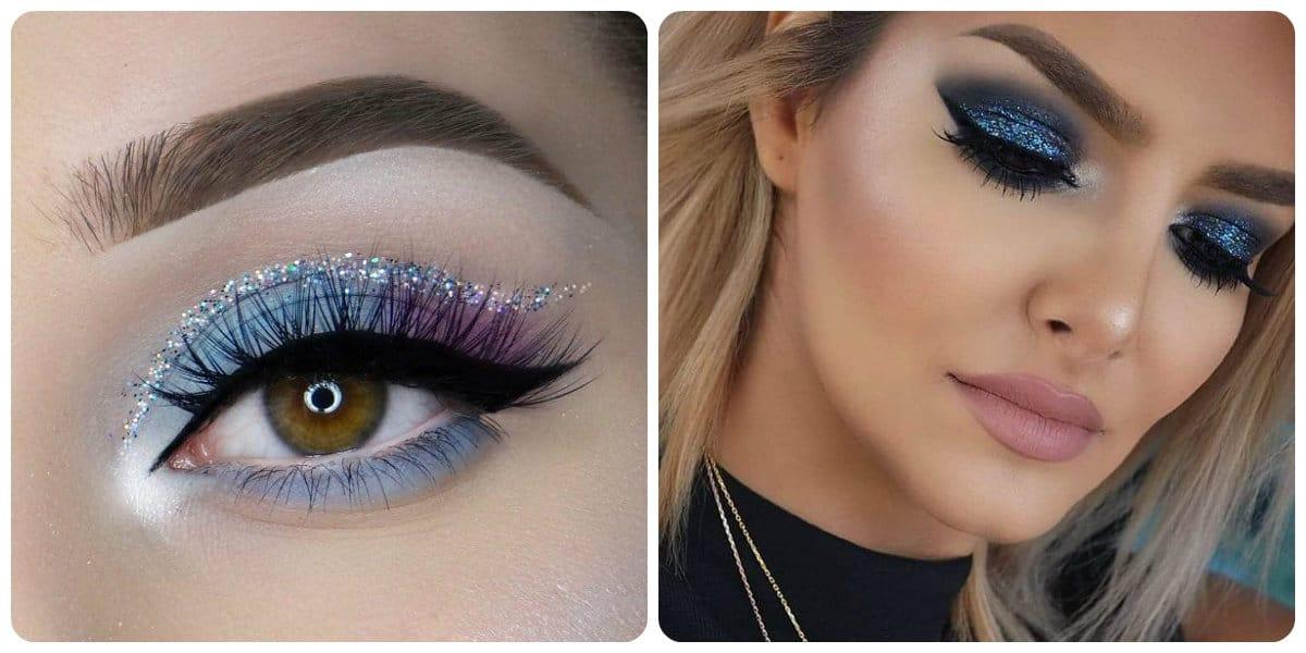 Maquillaje de noche 2022- los ojos azules estan en tendencia para las mujere de moda