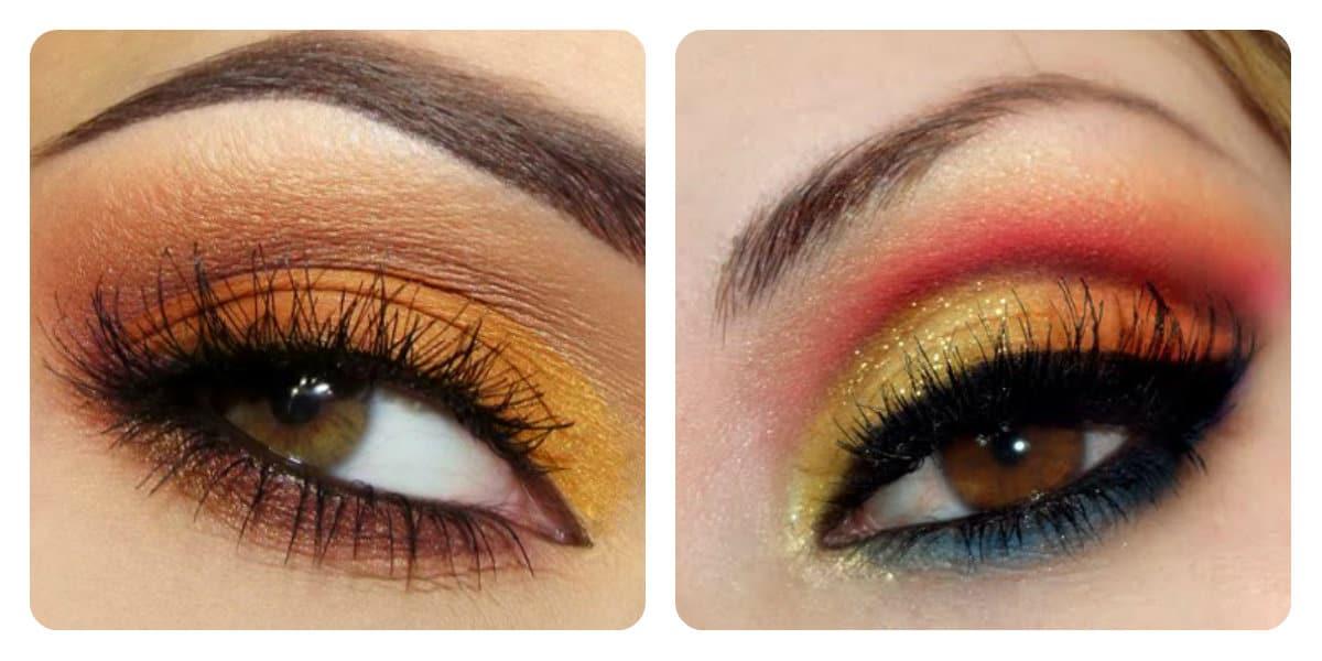 Maquillaje de ojos 2020- tonalidades de naranja y melecoton muy de moda
