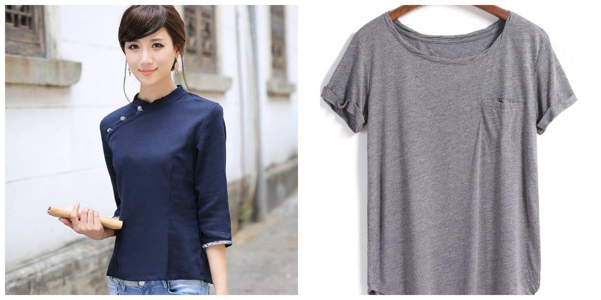 Modelos de blusas 2020- sin collar, complementar con accesorios
