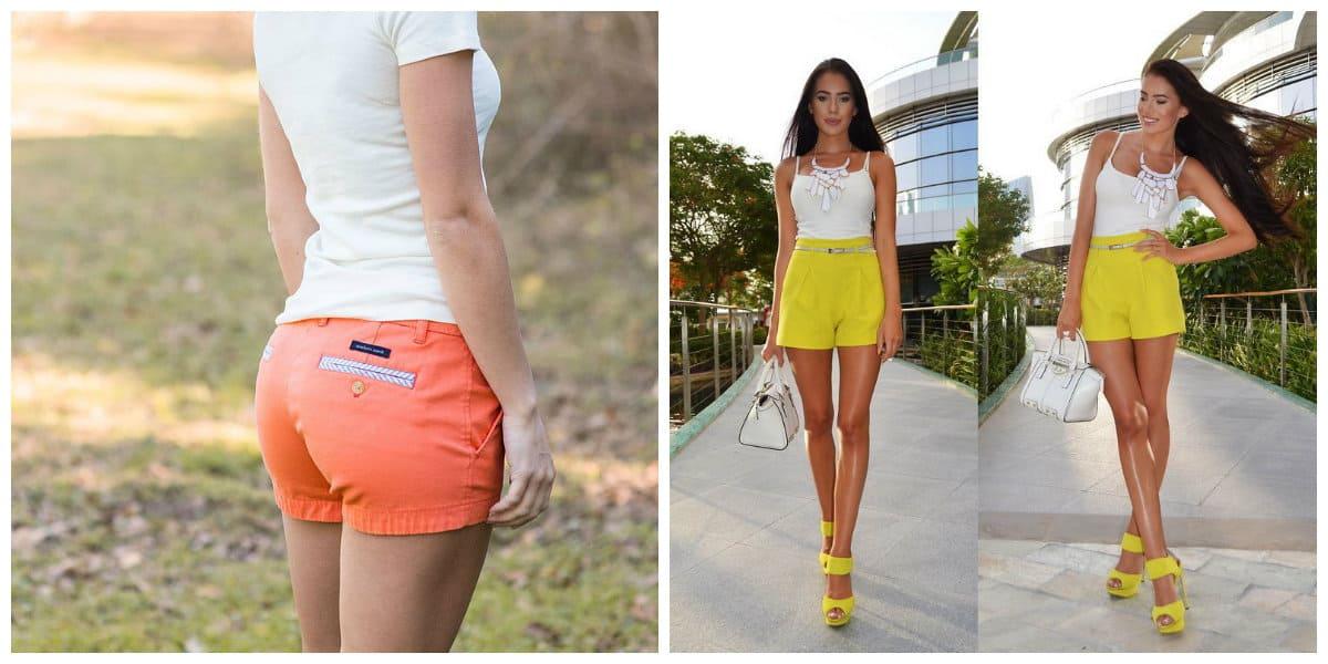 Pantalones cortos mujer 2018- coral y amarillo colores de moda