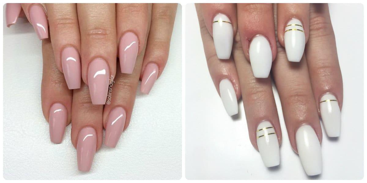 Uñas de acrílico 2020- color de rosa y blanco muy de moda