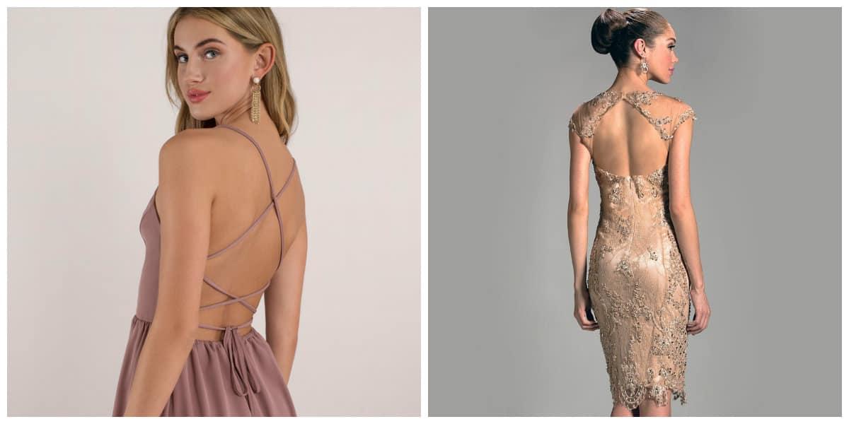 Vestidos de cóctel 2018- tendencias con espalda abierta