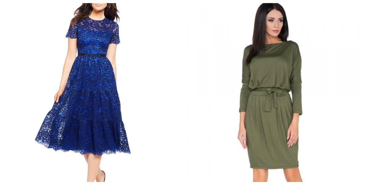 Vestidos de cóctel 2018- los colores azul y verde muy de moda