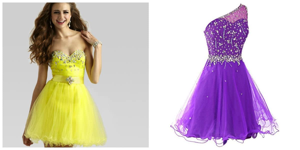 Vestidos de cóctel 2018- violeta y amarillo estan en tendenica de verano
