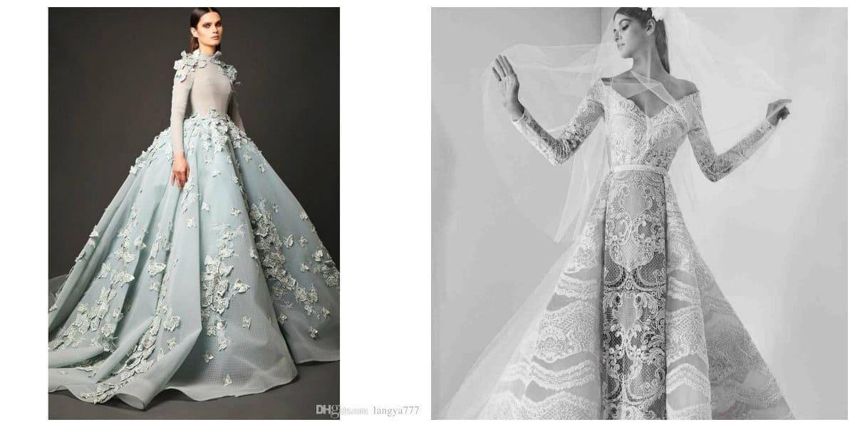Los guantes son accesorio elegante de vestidos de novia 2018. Los diseñadores han utilizado este accesorio femenino en vestidos de novia modernos de 2018- capas en lugar de velos tradicionales