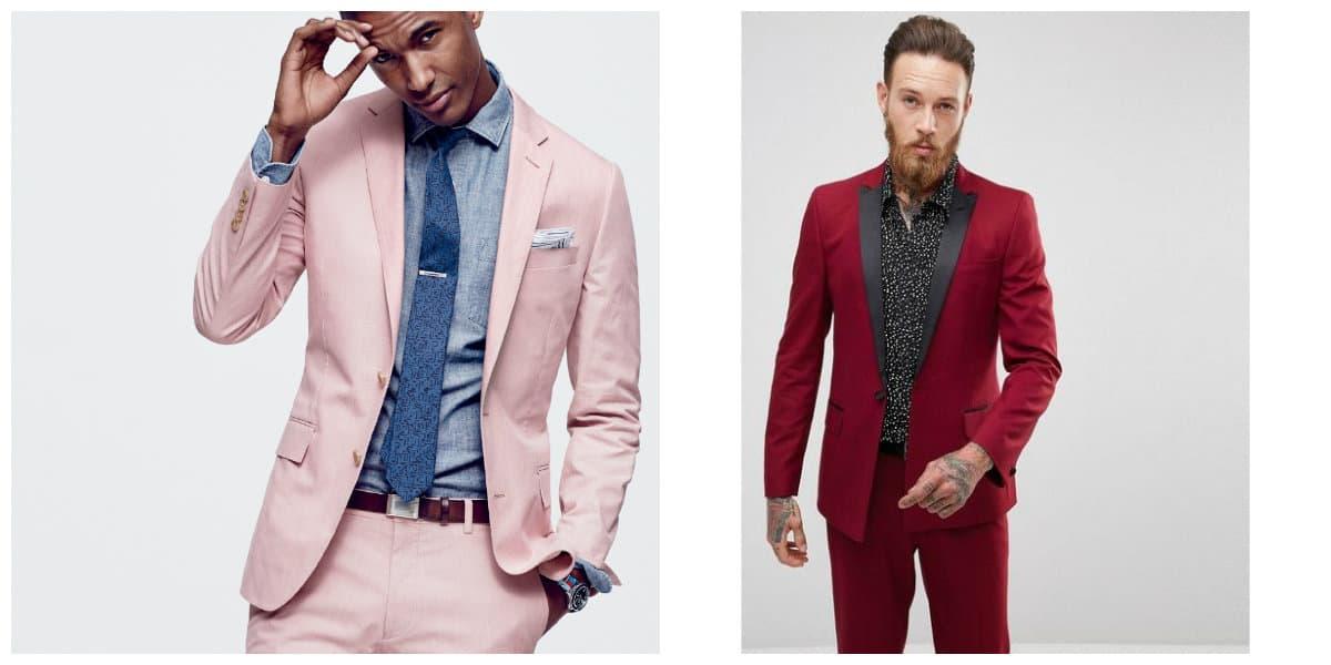 Moda masculina 2020- tonalidades de escarlata y rojo para trajes