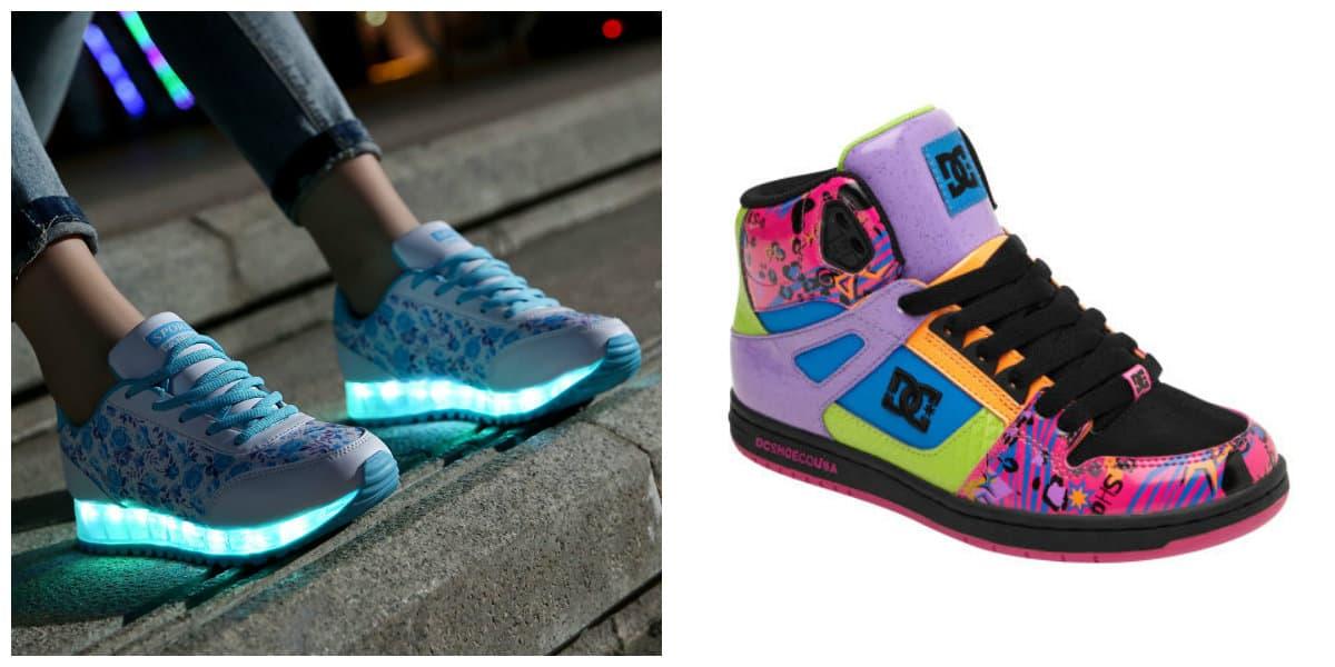 Ropa para chicas 2018- experimentos con calzados de colores
