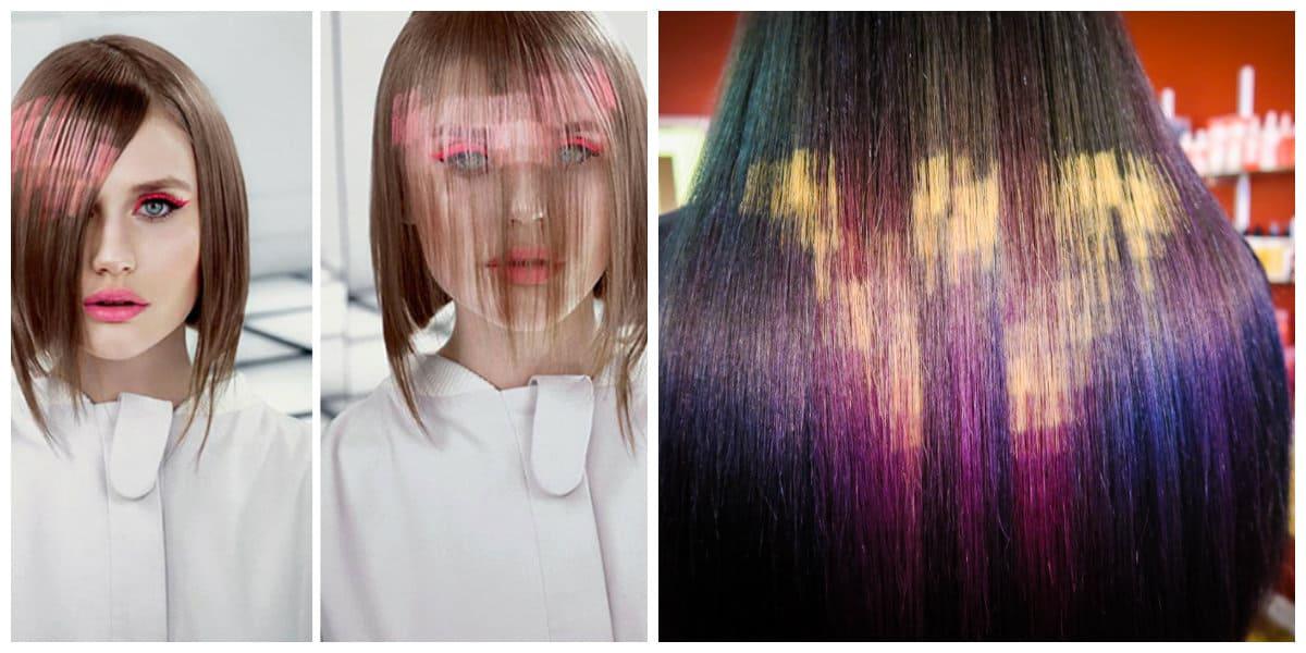 Color de pelo 2018- pixel como movimiento pricipal del ano de moda