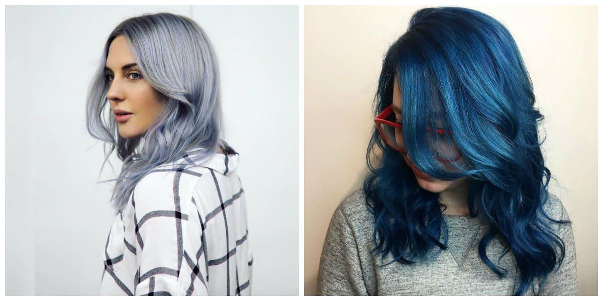 Pelo azul- diferentes tonalidades del color azul moderno