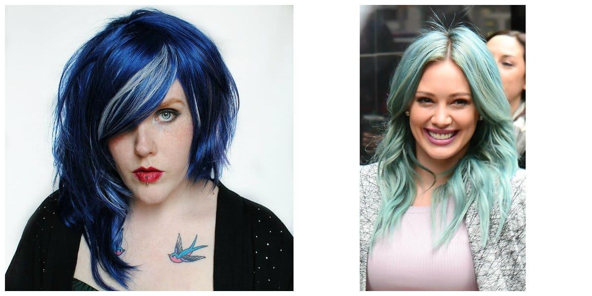 Pelo azul- opciones modernas para pelo corto y larog