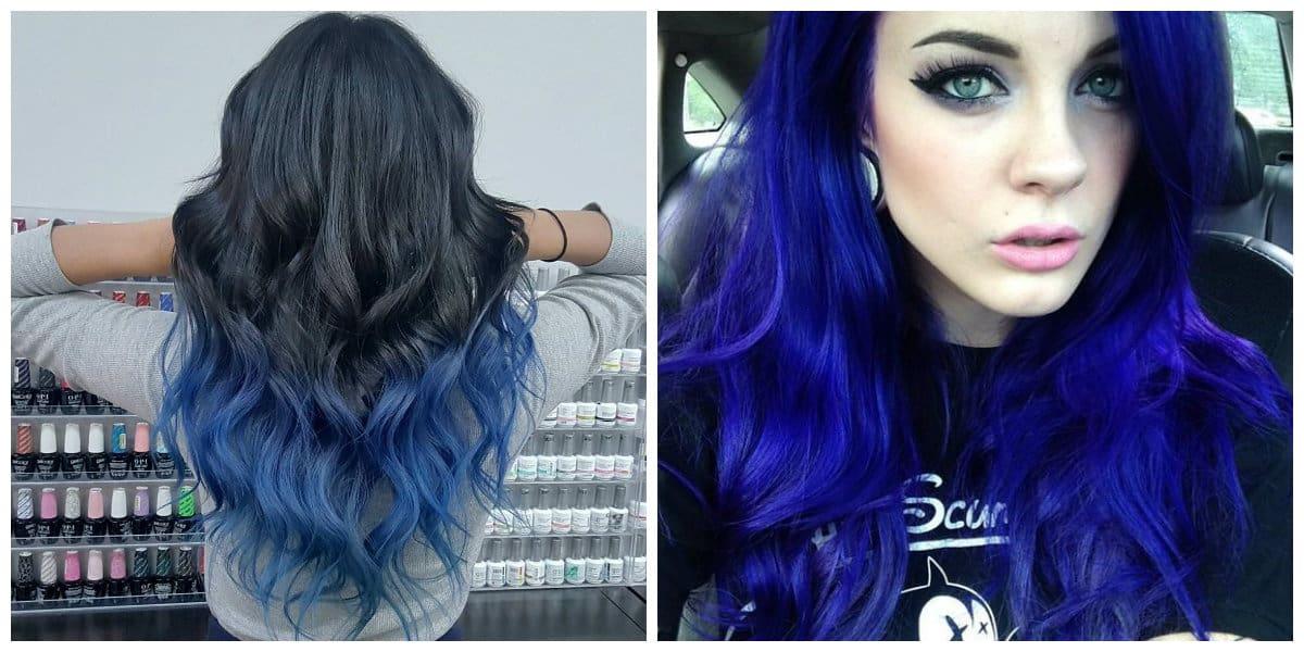 Pelo azul- tono oscuro para pelo largo muy de moda