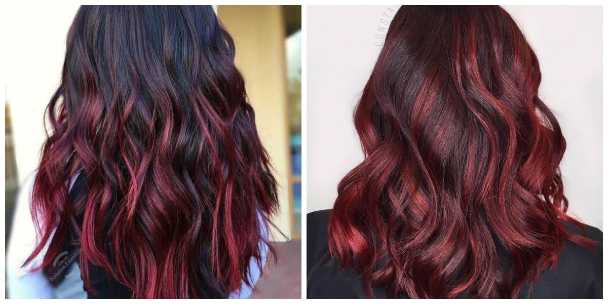 Pelo negro cereza- cabello de dos colores uno de los cuales es cereza