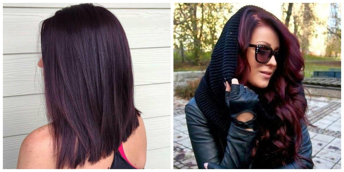 Pelo negro cereza- ideas para pelo largo y corto de color de cereza