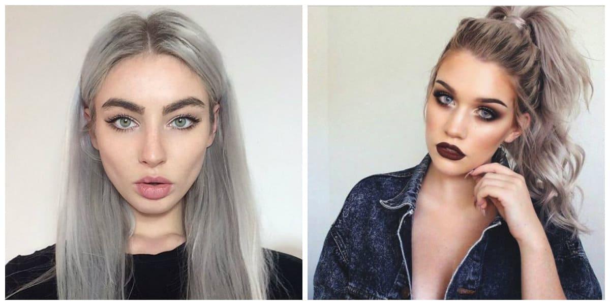 Tendencias de color cabello 2018- color de ceniza en moda