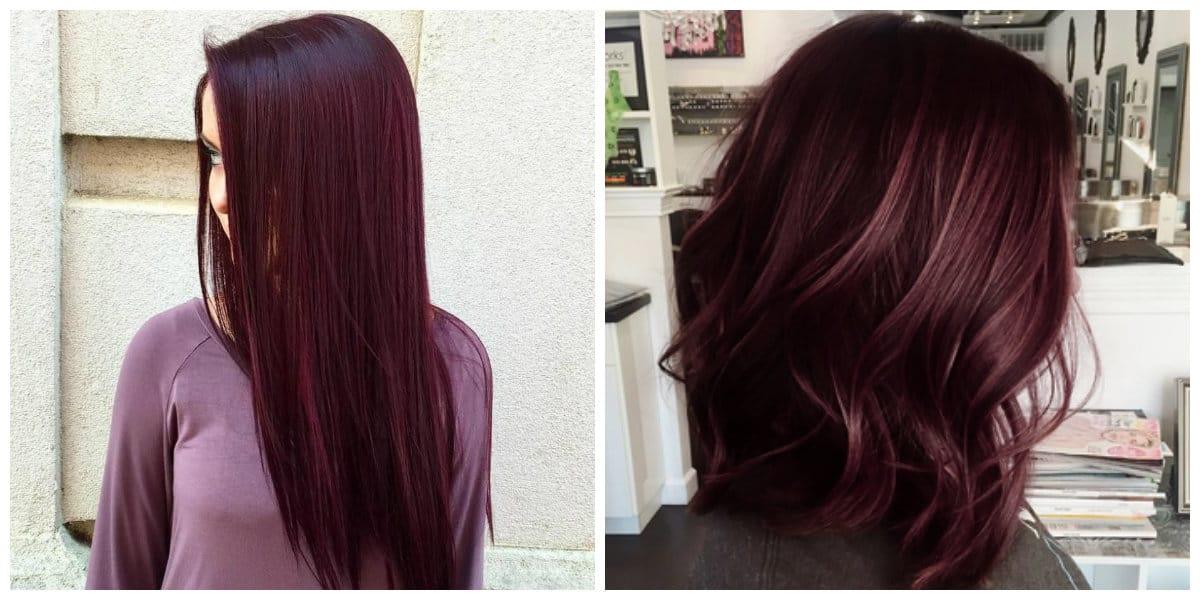 Color borgoña para cabello- peinados de peo recto y ondulado