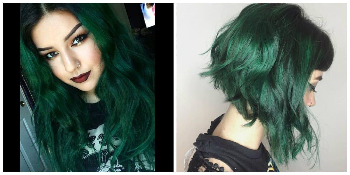 Color de pelo verde- tonalidades de verde oscuros muy de moda