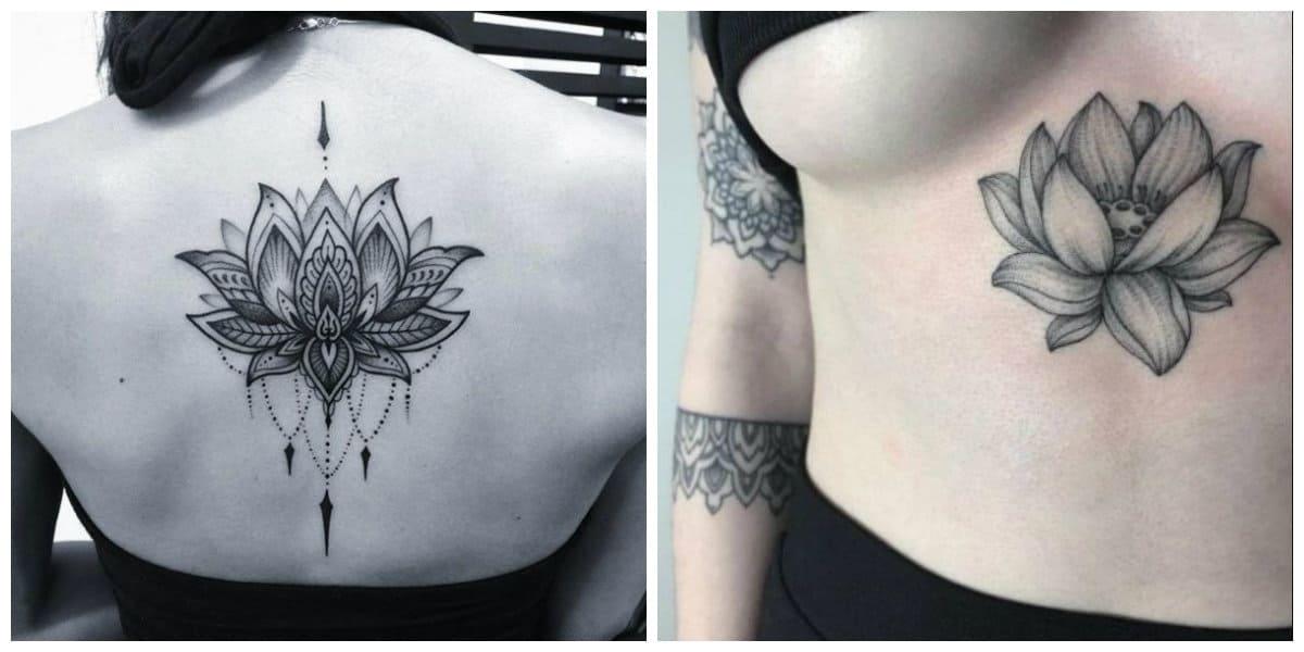 Flor de loto tatuaje- todas las tendencias principales de moda