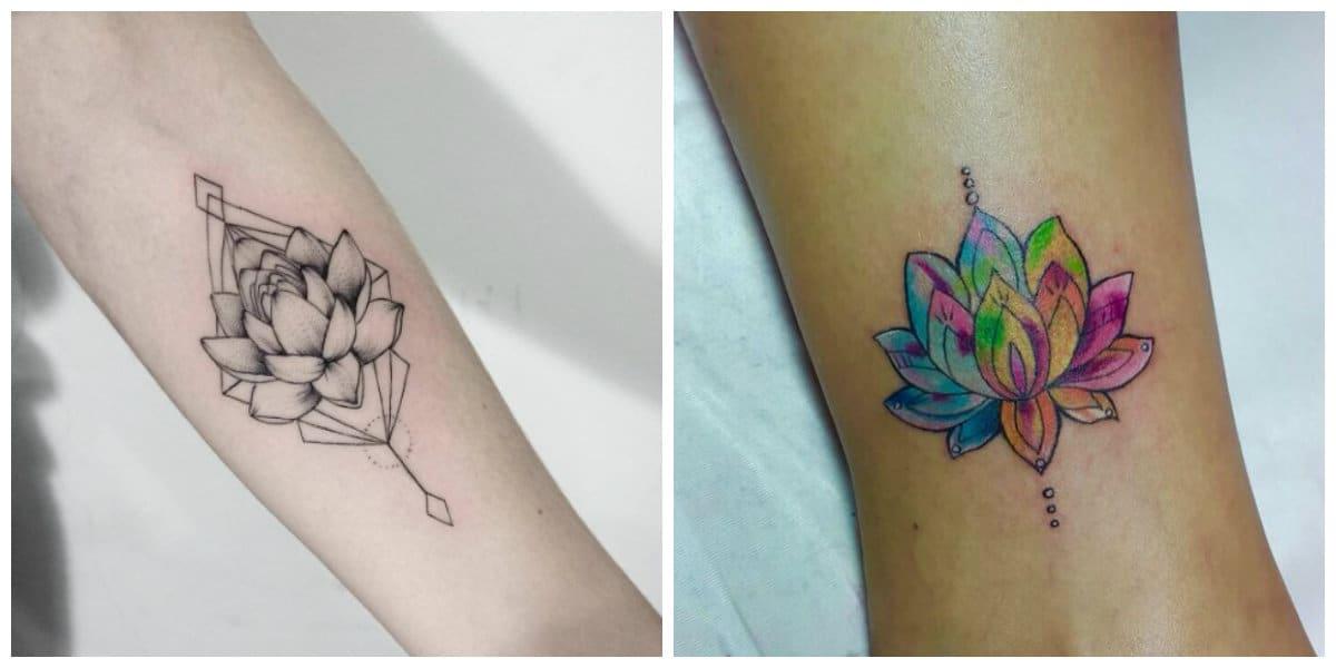 Flor de loto tatuaje- colores azul y blanco para la flor popular