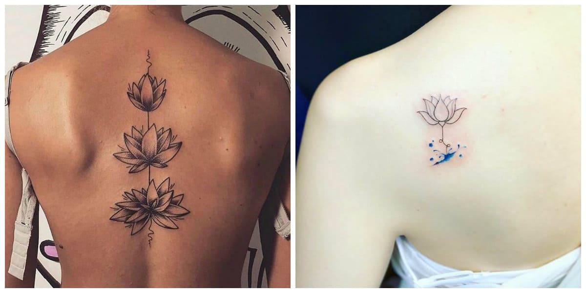 Flor de loto tatuaje- arte de tatuaje de lotos en la espina
