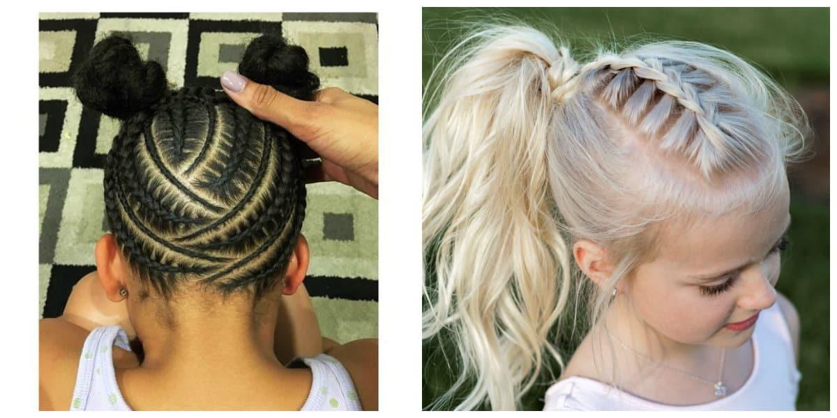 Peinados fáciles para niñas- trenzas en pelo oscuro y claro