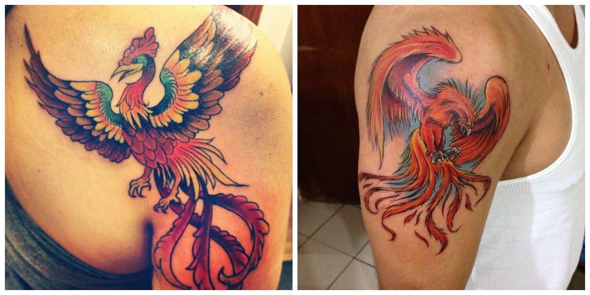Phoenix tatuaje- se hace primordialmente en colores diferentes