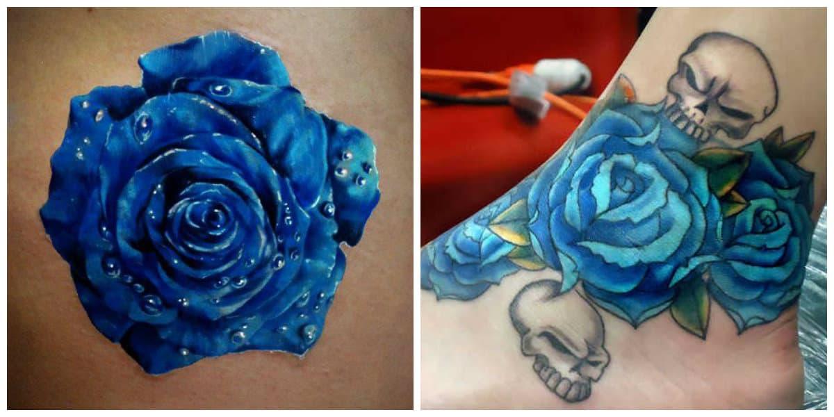 Rosa azul tatuaje- todas las tendencias y corrientes de moda