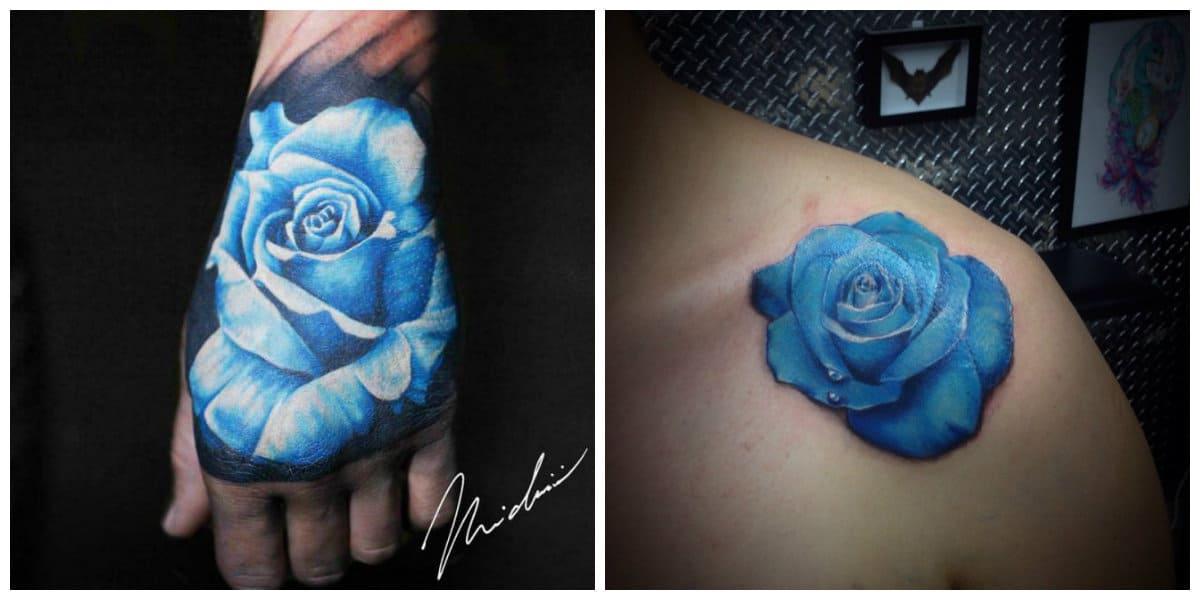 Rosa azul tatuaje- para enfatizar tu singularidad en el mundo