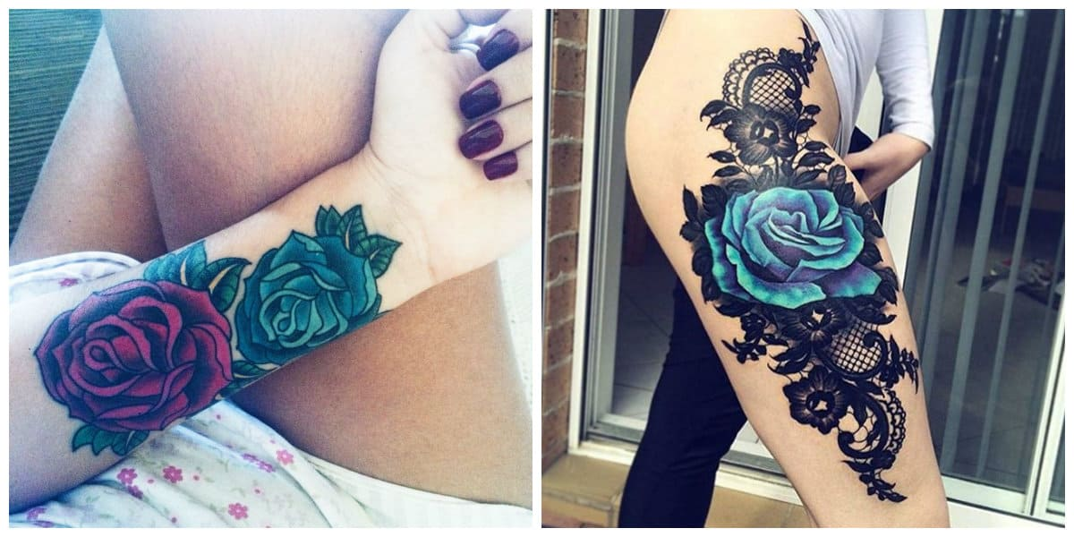 Rosa azul tatuaje- es un simbolo de ser unico en la naturaleza