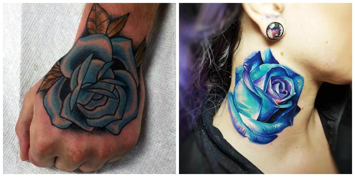 Rosa azul tatuaje- entra en mejroes tatuajes de modelo de rosa