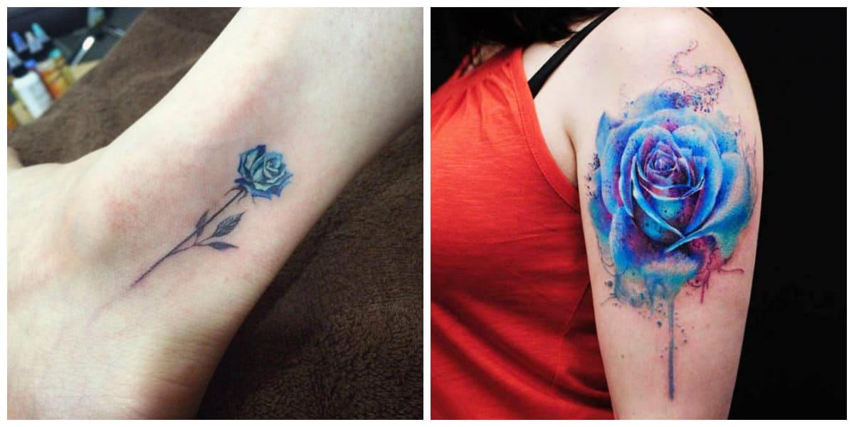 Rosa azul tatuaje- se puede hacern sobre piernas y brazos