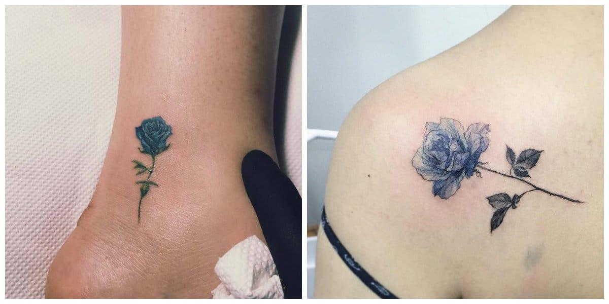Rosa azul tatuaje- en estilo minimalista y realistica de moda