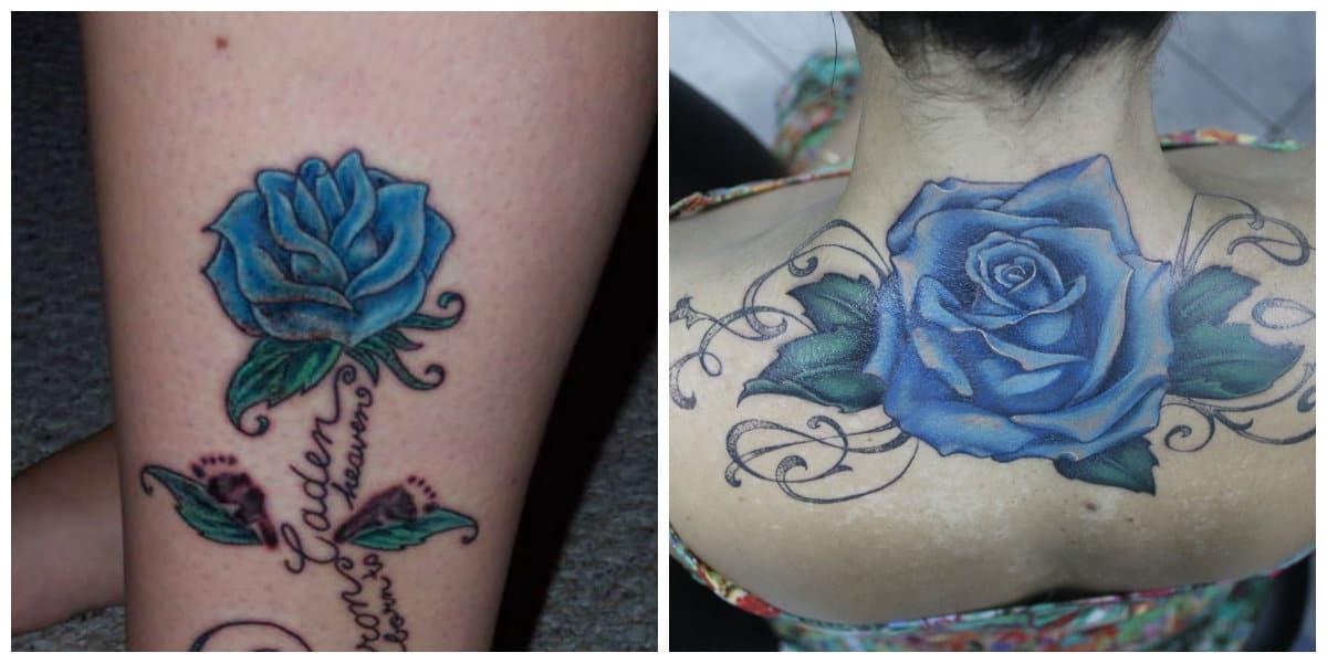 Rosa azul tatuaje- para las a quienes les gustan tatuajes grandes