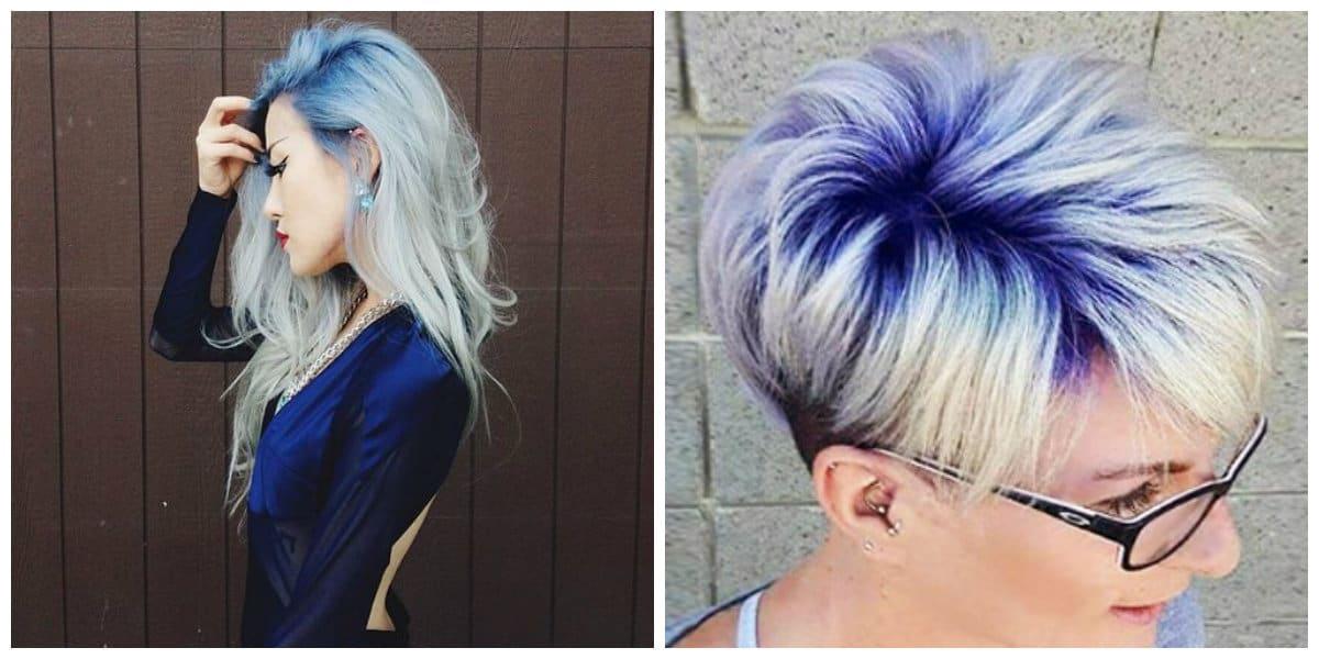 Rubio platinado raices oscuras- color azul en la raiz