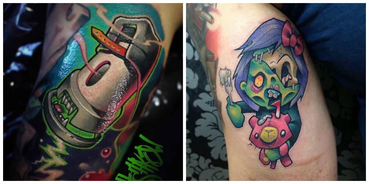 Tattoo nueva escuela- bundacia de diferentes colores naturales