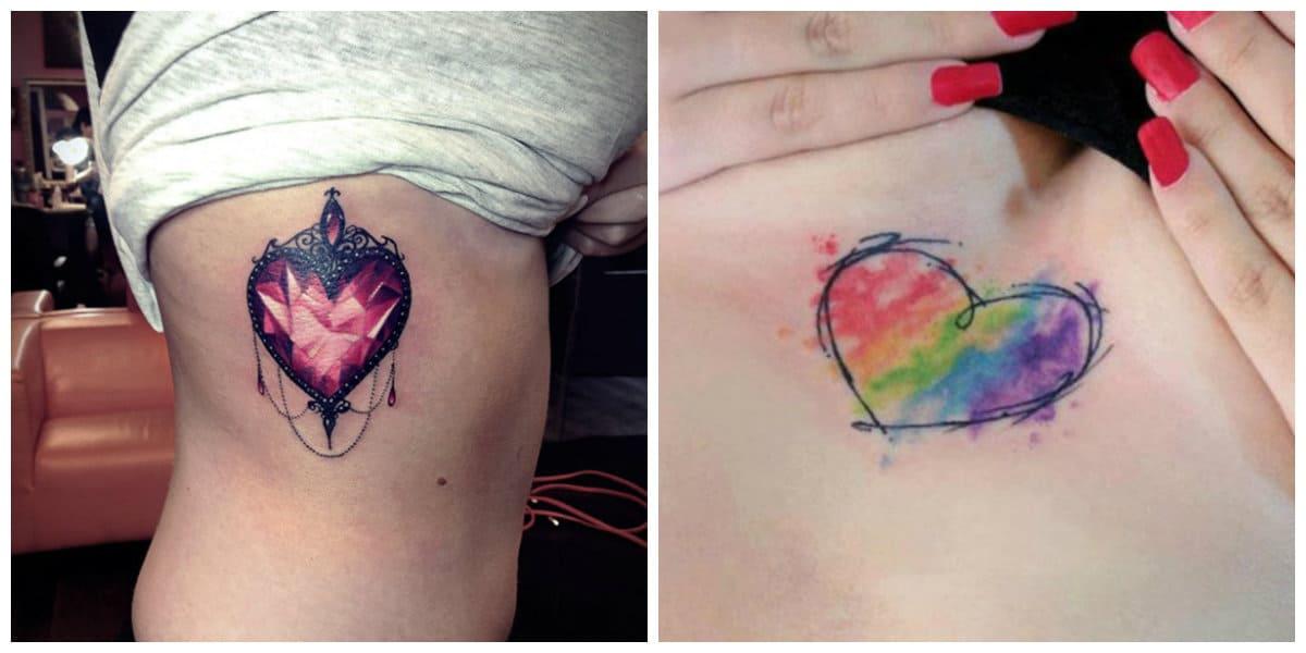 Tatuaje corazón- coloracion y tenido en tatuajes de moda
