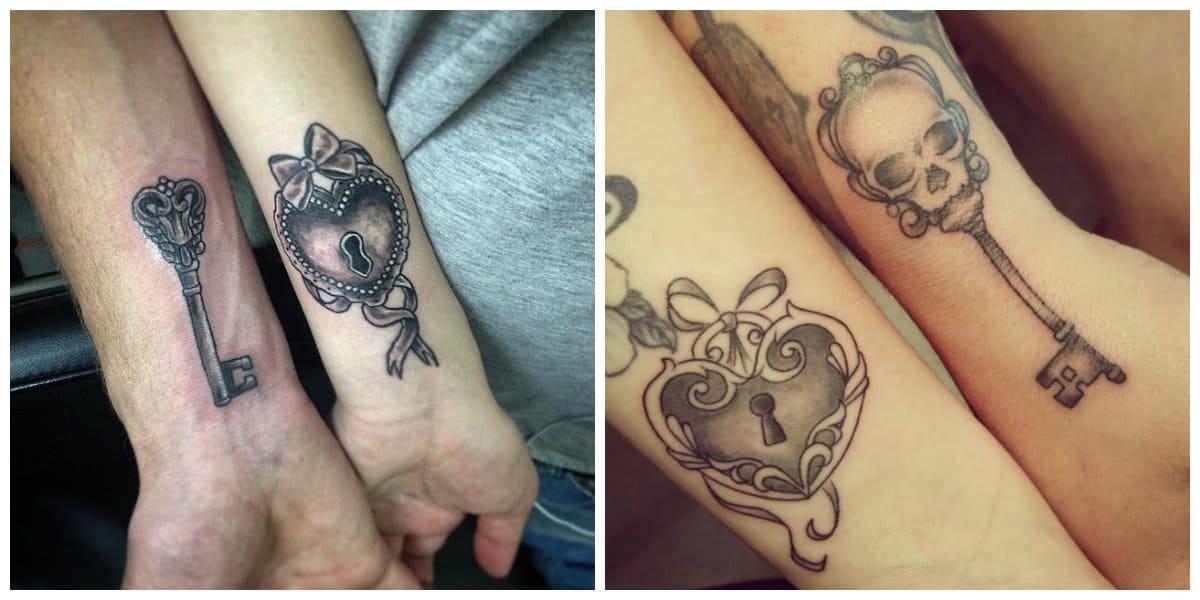 Tatuaje llave- llave y cerradura combinados en un lugar